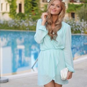Honey Punch teal blue dress size small